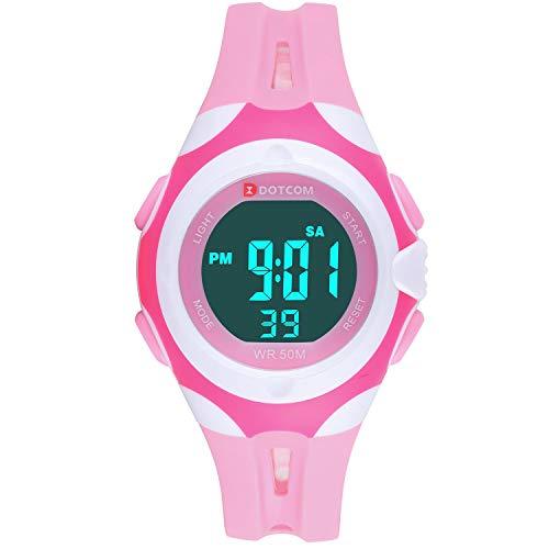 Reloj Digital para Niños,Reloj Infantil Deportivo 7 Colores Luz LED Multifuncional Impermeable...