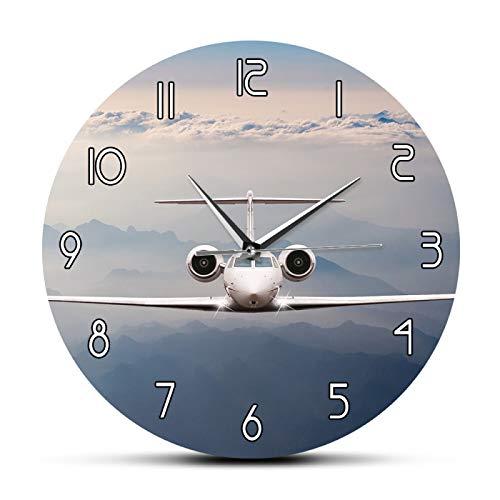 hufeng Reloj de Pared Avión Volar sobre Las Nubes Reloj de Pared Decorativo Moderno Alpes Montaña en la Puesta del Sol Avión Jet Avión Cabina Reloj de Pared de aviación