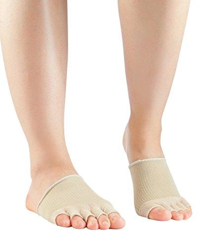 Knitido Dr. Foot Hallux-Valgus-Zehlinge, Füßlinge zur Unterstützung bei Ballenzeh, offene Zehen, Farbe:Beige (007), Größe:35-40