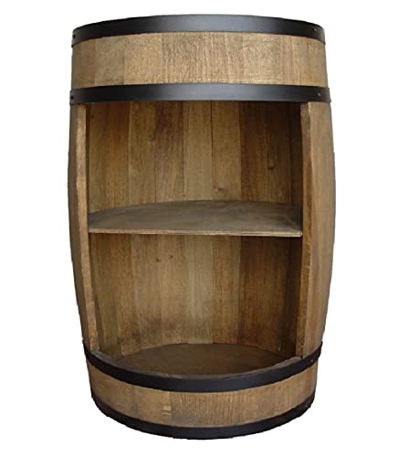 Weeco - Mobile bar a forma di botte, in legno, 81 cm, con ripiano