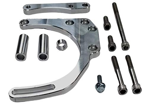 Z Whip SBC Double Camel Hump Fuelie Head Alternator Bracket Billet Aluminum Mid Mount Adjustable V Belt Long Water Pump LWP Compatible with Chevy Small Block V8 305 327 350 400 383 5.7L Made In USA