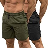 TEZO Mens 7' Gym Workout Shorts Training Bodybuilding Short Pants Zipper Pockets(AGBK L)