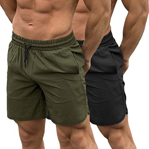 TEZO Mens 7  Gym Workout Shorts Training Bodybuilding Short Pants Zipper Pockets(AGBK S)