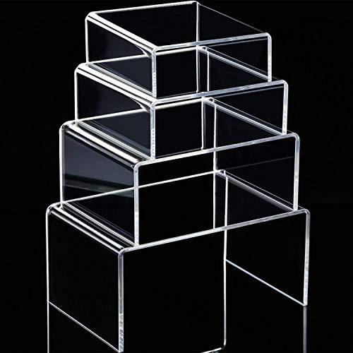 4 Piezas de Expositor de Elevador de Acrílico Transparene, Expositores de Joyería Exhibidores de Escaparate (3.3 Inch, 4.1 Inch, 5 Inch, 5.7 Inch)