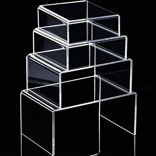 Chuangdi 4 Stück Klare Acryl Display Riser, Schmuck Display Riser Schaufenster Leuchten (Größe D) (3.3, 4.1, 5, 5.7 Inch)