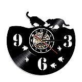 ERTOQ Reloj de Pared de Vinilo Pareja de Gatos Record Clock Vintage Registro de Vinilo Regalo Hecho a Mano hogar Decoración 7 Colores luz Nocturna 30x30cm- Sin LED