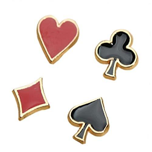 4pcs / Set Pequeño Alfileres Y Broches Poker Gemelos Divisa De La Aleación De Solapa Broche Pin Accesorios Camisa De Cuello