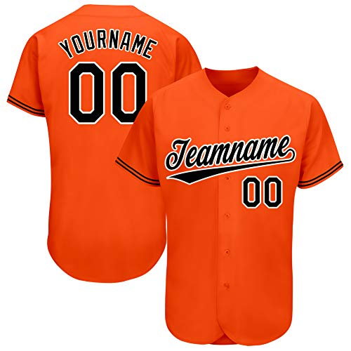 Custom Baseball Jerseys Personalized Sportswear Full Button Team Active Shirts Tees Printed Name & Number Orange-Black