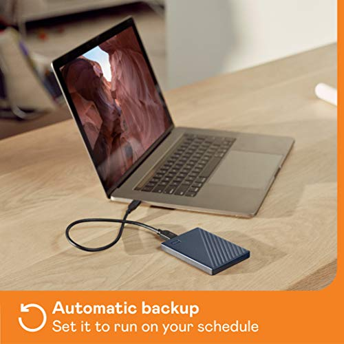 WD My Passport for Mac externe Festplatte 2 TB (mobiler Speicher, USB-C-fähig, WD Discovery Software, Passwortschutz, Mac kompatibel, einfach einzusetzen) mitternachtsblau