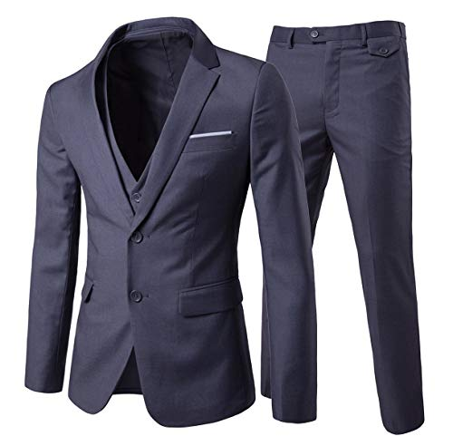 U LOOK UGLY TODAY Men's Party Suit Solid Color Prom Suit for Themed Party Events Clubbing Jacket with Tie Pants Black X-Large