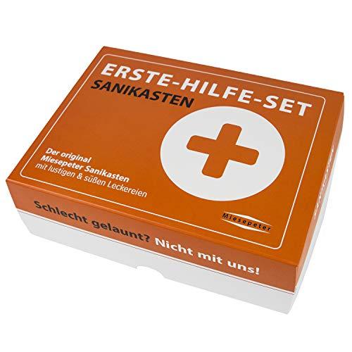 Miesepeter® Sanikasten | ERSTE-HILFE- SET Geschenk-Box, witziges Geschenkeset | Scherzartikel (Standard Edition, L)