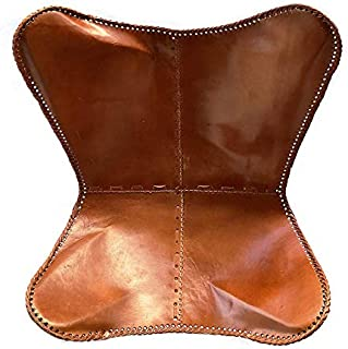 Leder_artesanía Present by Handmade Tan Leather Arm Chair Cover Leather Butterfly Chair Home Decor