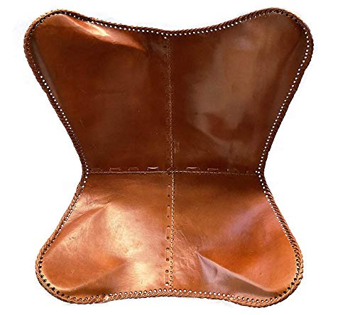 Leder_artesanía Present by Handmade Tan Leather Arm Chair Cover Leather Butterfly Chair Home Decor