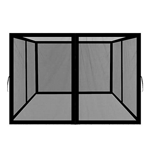 Easylee Universal 10' x 10' Gazebo Replacement Mosquito Netting, 4-Panel Netting Walls for Patio with Zippers (Black)