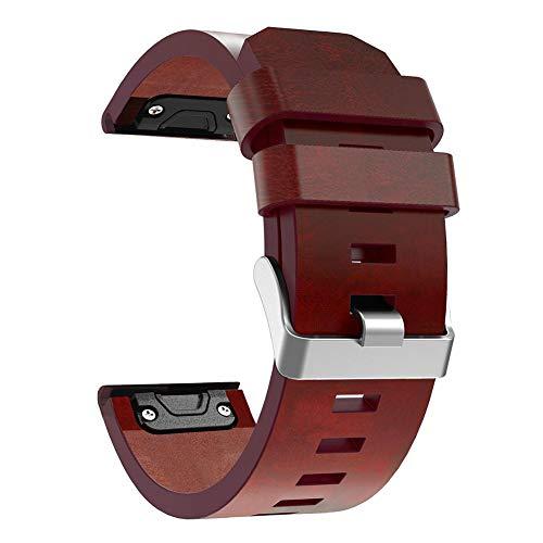 Chansted Correa de Reloj de Pulsera de Piel de 26 mm para Garmin Fenix 3 Fenix 5X
