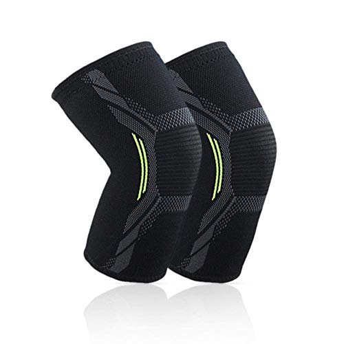 Piore 1PC Elastic Knee Pads Four Way Stretch Knit Nylon Kneecap Outdoor Sport Cycling Fitness Compression Protectors Knee Support,Black,L