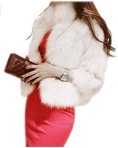 GESELLIE Women's Elegant Short Faux Fur Coat Winter Warm Fur Jac