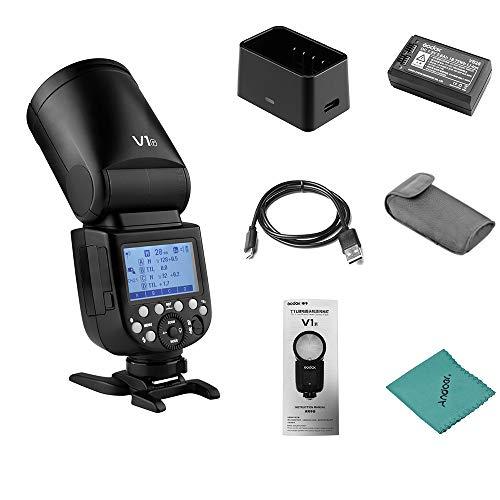 Godox V1F Flash de cámara Speedlite Speedlight Cabeza Redonda inalámbrica 2.4G para Fuji Fujifilm X-Pro2 X-T20 X-T2 X-T1 GFX50S GFX50R Cámaras para Estudio de Retratos de Bodas