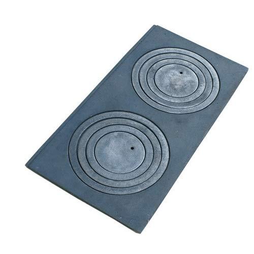 QLS Platte zum Ofen Kochfeld Herdplatte mit Herdringen aus Gusseisen 2 Kochfelder 60 x 30 cm