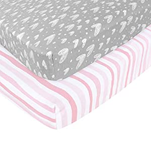 Biloban Pink Grey Print Nursery Sheets