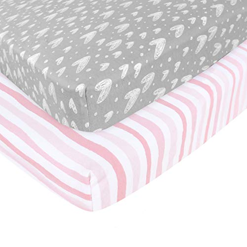 Pack n Play Fitted Sheet, Soft Jersey Cotton Portable Playard Sheets, 2 Pack Mini Crib Sheets, Unisex, Preshrunk,Grey and Pink