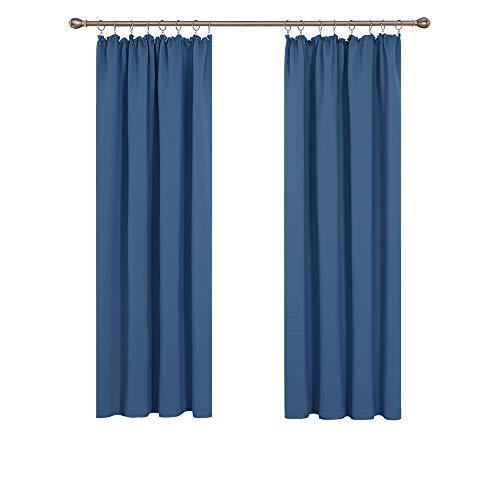 Deconovo Vorhang Blau kräuselband Blickdicht Schlafzimmer schallschutz Vorhänge 175x140 cm Blau 2er Set