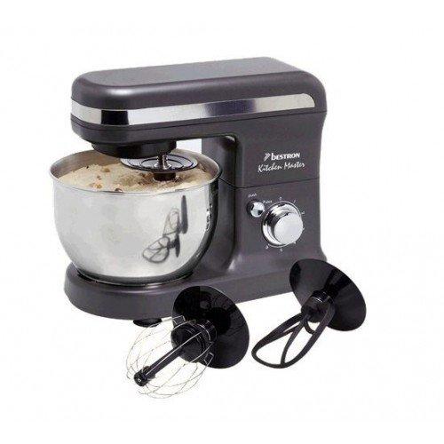 Bestron AKM500 Küchenmaschine 450 Watt max 6 Geschwindigkeiten + Pulsfunktion Edelstahl-Rührschüssel