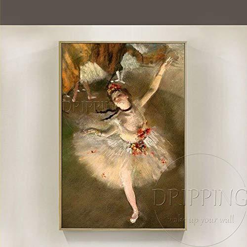 ZHUAIBA Pintada A Mano Decorativas Artista Pintado a mano Edgar Degas Bailarina Pintura al óleo sobre lienzo Reproducción Pintura de la bailarina Edgar Degas Pintura al óleo 60x90 CM