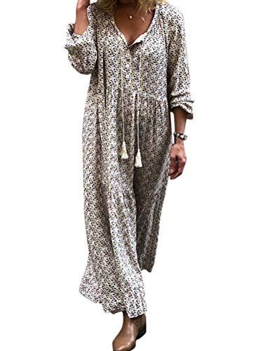 ORANDESIGNE Damen Maxikleid Lose Kleid V-Ausschnitt Langarm Vintage Boho Maxi Kleid Elegant Strandkleid Große Größen Langes Blumenkleid Grau...