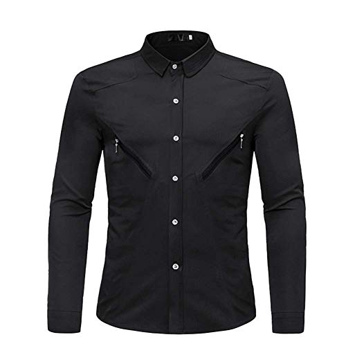 Generice - Camisa de manga larga para hombre, tamaño europeo, con cremallera, decoración coreana