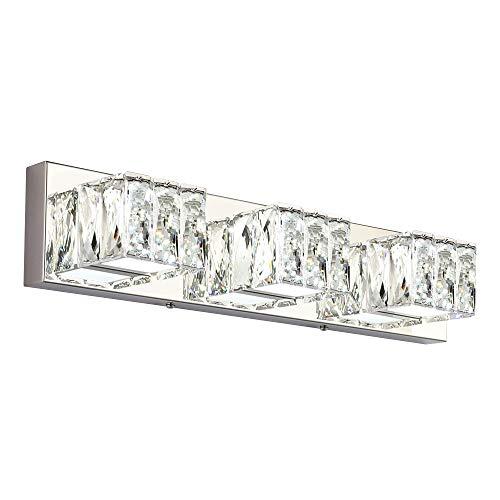 ZUZITO LED Dimmable Bathroom Vanity Lighting Fixtures Modern Crystal Vanity Light Over Mirror White Light(3 Lights)