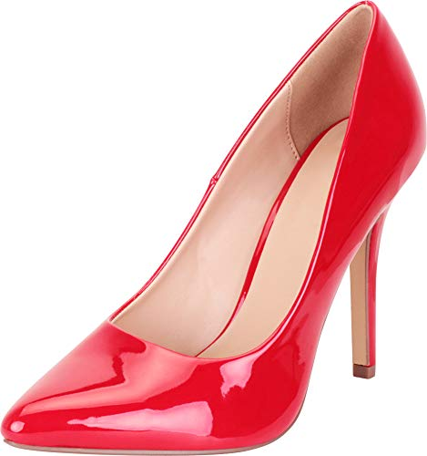 Cambridge Select Damen Classic Slip-On Geschlossene Spitze Stiletto High Heel Pumpe, Rot (Lippenstift Patent Pu), 37.5 EU