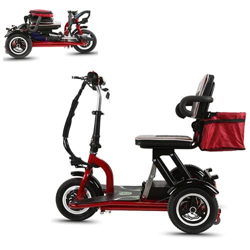 EWYI Scooter per La Mobilità, 3 Ruote Pieghevole Scooter Elettrico con Potere 300W E 3 Cambi di Marcia, Triciclo Elettrico Leggero per Anziani, Disabili, Adulti 8AH/30KM