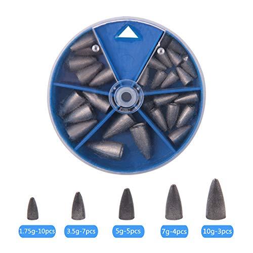 Shaddock Pesas en Forma de lágrima Kit de Pesas de Gusanos de Varios tamaños en una práctica Caja