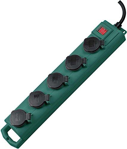 Brennenstuhl Super-Solid SL 554 Tuinstekkerverdeler/outdoor stekkerdoos (voor gebruik in de tuin, 5-voudig, 5m kabel, met schakelaar, IP54) groen