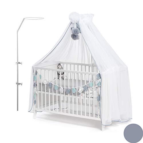 Callyna  - Ciel de lit bébé XXL avec support, voile qualité LUX Blanc grande taille. Moustiquaire décorative pour lit bébé. Pompon Gris