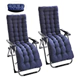 <span class='highlight'>Your</span>'s <span class='highlight'>Bath</span> 2Pcs Sun Lounger Cushions Pad with Head Cover and 6 Lines, Portable Garden Patio Thick Padded Bed Recliner Relaxer Chair Seat Cover for Travel Holiday Beach Indoor Outdoor (No chair) blue