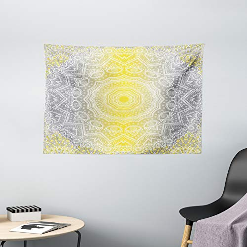 Ambesonne Grey and Yellow Tapestry, Mandala Ombre Old Boho Pattern with Spiral Round Floral Print, Wide Wall Hanging for Bedroom Living Room Dorm, 60