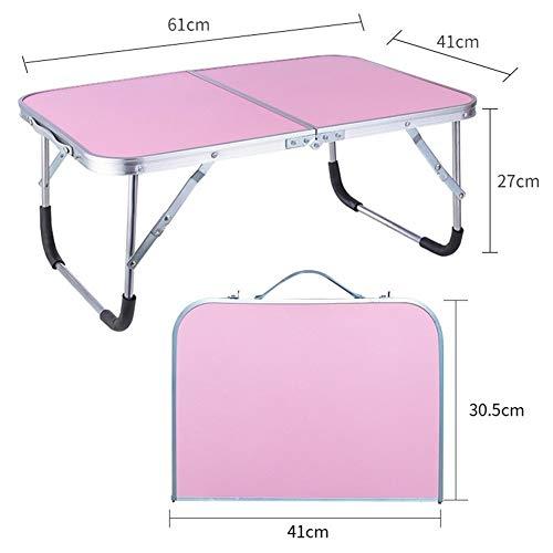 LVMEIHUA desktop-PC, inklapbaar, slaapkamer, slaapkamer, bed, kantoor, draagbaar, kantoor, kunst, om uit te gaan, kan worden gebruikt om voorwerpen op te bergen (60 x 40 x 27 cm) (kleur: roze)