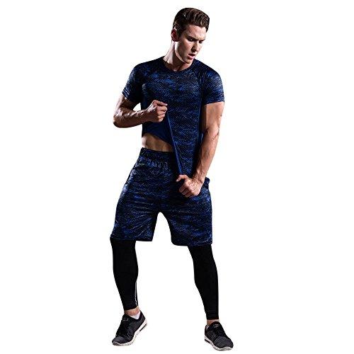 Celucke Herren Trainingsanzug 3 Stücke Sport Anzug für Fitness, Laufshirts + Laufshorts + Leggings, Kompression Atmungsaktiv Stretch Performance T-Shirt Trainingsshorts Lauftights