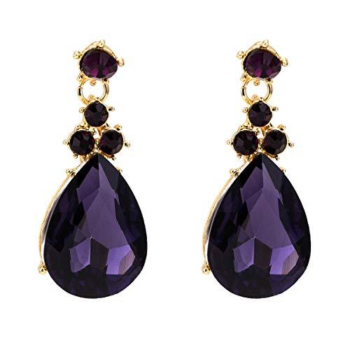 VIWIV Pendientes de Europa y América tipo gota largos exagerados pendientes de diamante de varias capas simples modelos de moda pendientes bohemios con joyas de estilo INS para mujer (color: púrpura)