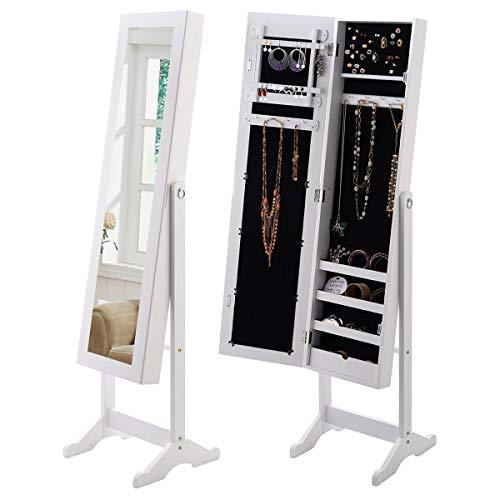 GOPLUS Schmuckschrank mit Spiegel, 2-in-1 Spiegelschrank mit Ablagen, Standspiegel Winkeleinstellbar 34 x 37 x 144 cm, ordentliche Aufbewahrung für Schmuck Halsketten Ohrring, Weiß