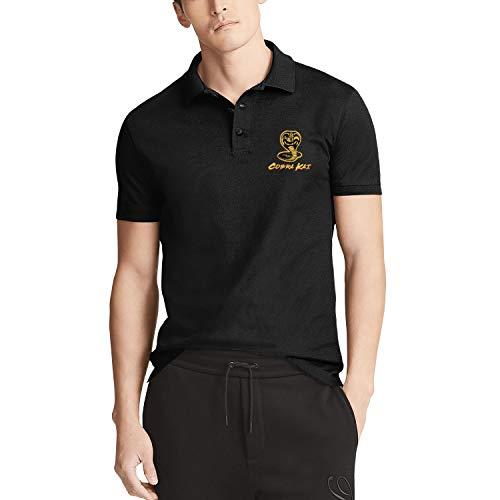 Univeins Cobra-Kai-Karate-Kid-No-Mercy 100% Cotton Fashion Retro Costumes Short Sleeve Polo Shirt for Men Teenagers Black