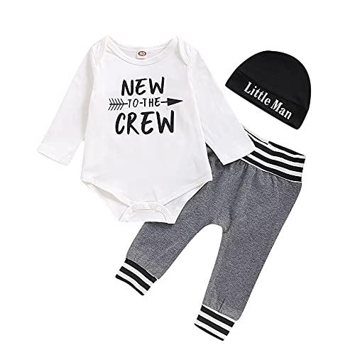 U-Sinmule Traje de Niño Caballeros Conjunto de ropa de algodón de bebés recién nacidos Conjunto Traje Manga Larga Imprimir Top + Pantalones, Letras, 6-12 meses