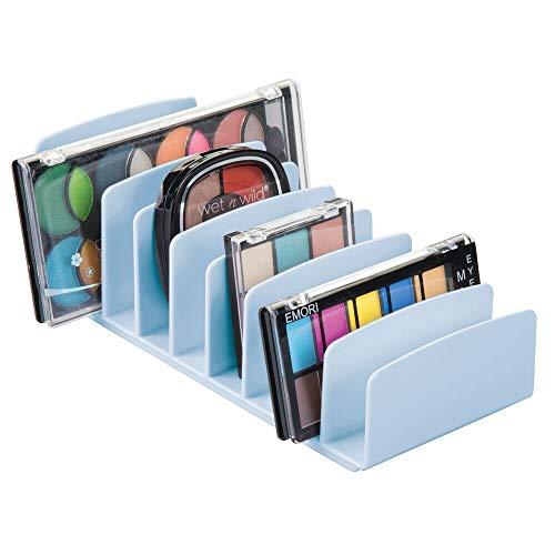 mDesign Organizador de Maquillaje de plástico sin BPA – Bandeja de Maquillaje con 9 Compartimentos Verticales – Organizador de cosméticos para Lavabo, tocador o Armario – Azul Claro