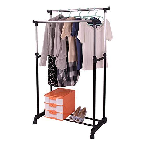 LM-Coat rack Perchero pie Perchero, Ajustable Tendedero Estante Organizador Organizador de Ropa rodante, Acero Inoxidable para baño Corredor,Negro