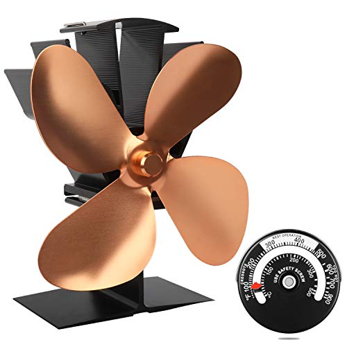 Heat Powered Stove Fan with Magnetic Thermometer 4 Blade...