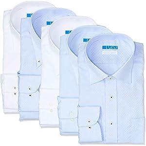 [ドレスコード101] ノーアイロン 長袖ワイシャツ 5枚セット 洗って干してそのまま着る 綿100% の優しい着心地 シンプルがかっこいい シーンを選ばないデザイン 超形態安定 EATO-5SET メンズ 03 白2枚 青3枚(レギュラー1 ボタンダウン1 ワイド3) 首回り41cm裄丈82cm