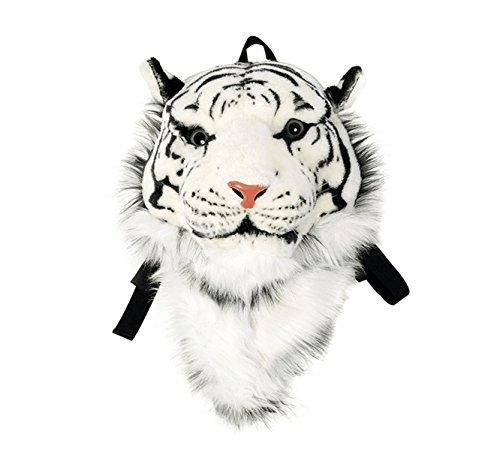 Domineering backpack stuffed tiger head 3D simulation personalised shoulder Bag Animal head shoulders bag (small, tiger white)