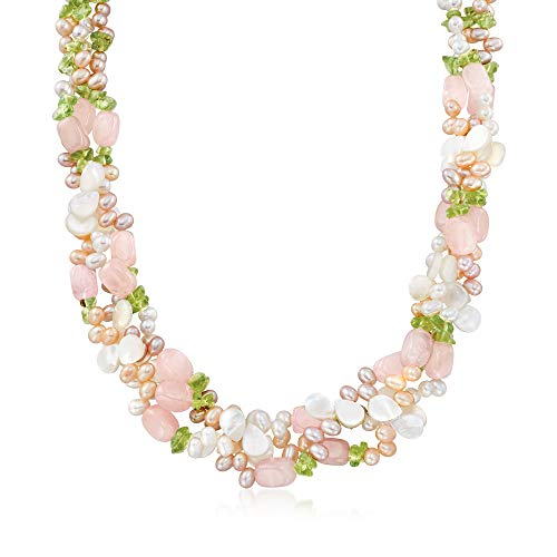 Ross-Simons 4-5mm Multicolored Cultured Pearl and Multi-Stone Torsade Necklace With Sterling Silver. 19 inches (Cultured Strand)